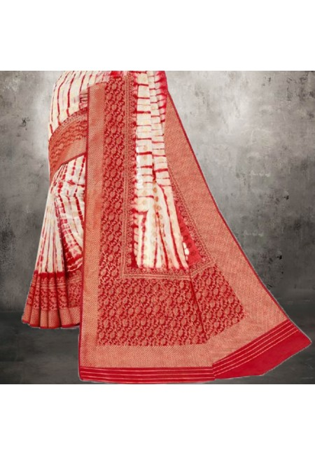 Off White Color Printed Bhagalpuri Silk Saree (She Saree 612)