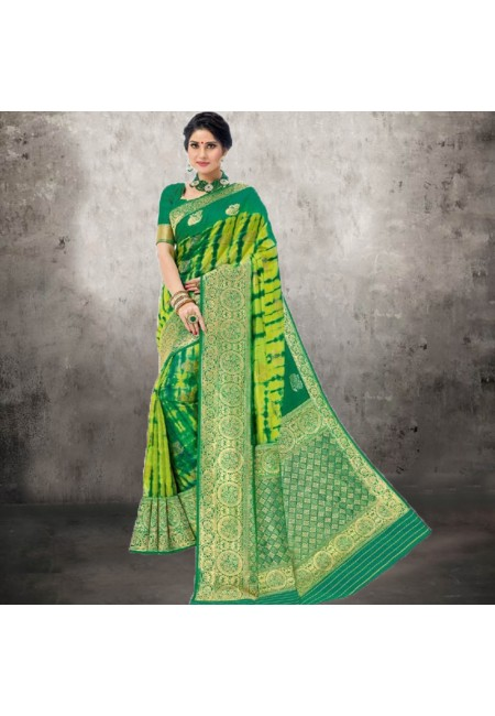 Green Color Contrast Bhagalpuri Silk Saree (She Saree 616)