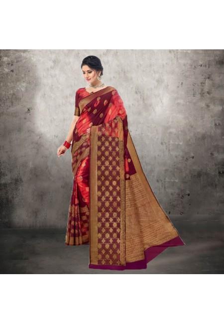 Maroon ColorContrast Bhagalpuri Silk Saree (She Saree 618)