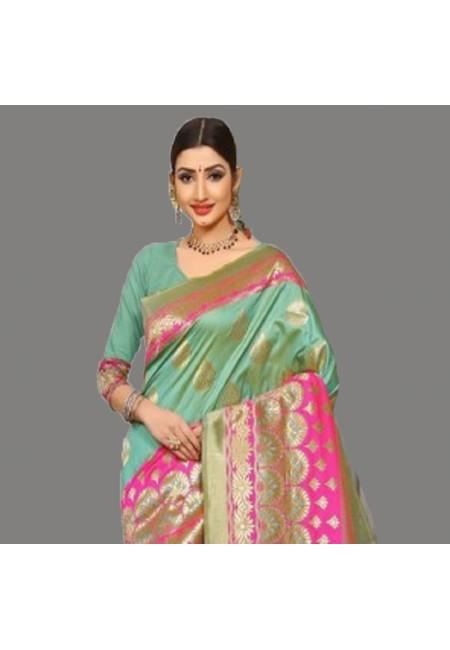 Pastel Green Color Semi Katan Silk Saree (She Saree 683)