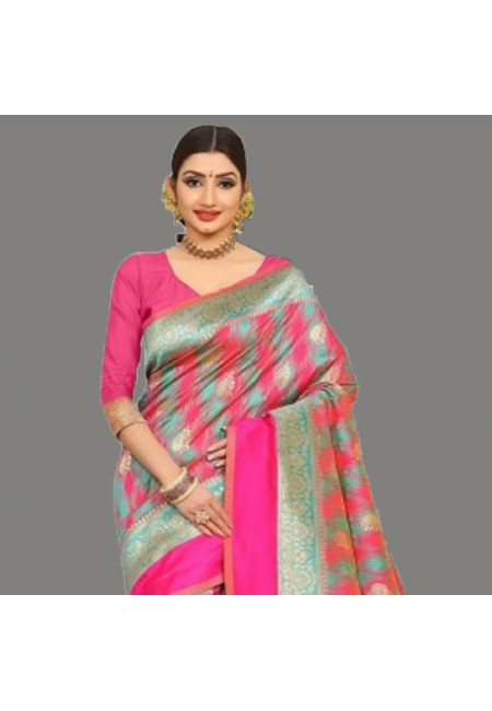 Multi Color Semi Katan Silk Saree (She Saree 684)
