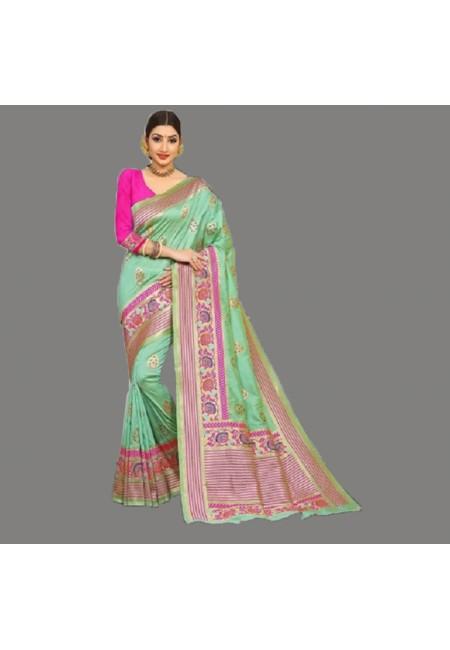 Pastel Green Color Semi Katan Silk Saree (She Saree 685)