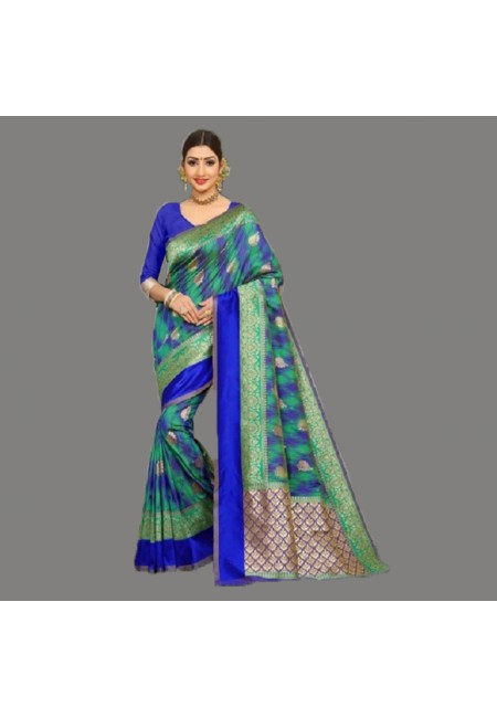 Multi Color Semi Katan Silk Saree (She Saree 686)