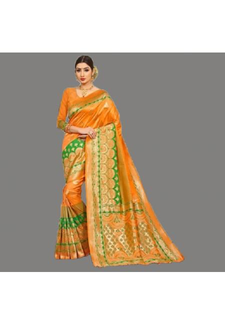 Orange Color Semi Katan Silk Saree (She Saree 688)