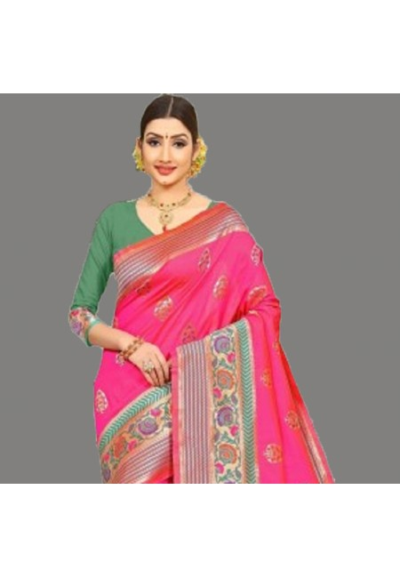 Pink Color Semi Katan Silk Saree (She Saree 689)