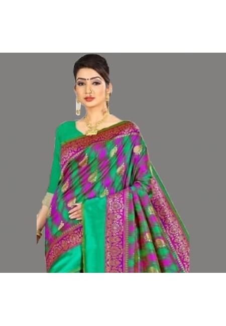 Multi Color Semi Katan Silk Saree (She Saree 690)