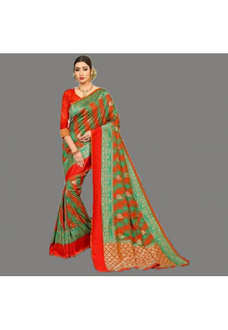 Multi Color Semi Katan Silk Saree (She Saree 691)