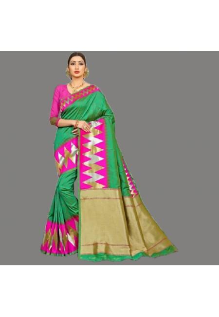 Green Color Semi Katan Silk Saree (She Saree 692)