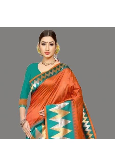 Rust Color Semi Katan Silk Saree (She Saree 694)