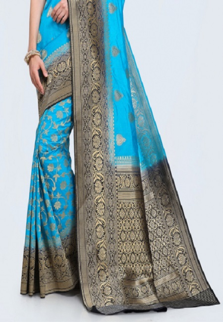 Peacock Blue Color Khaddi Silk Saree (She Saree 619)