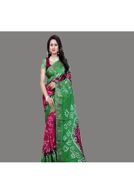 Magenta Color Bandhani Printed Georgette Saree (She Saree 677)