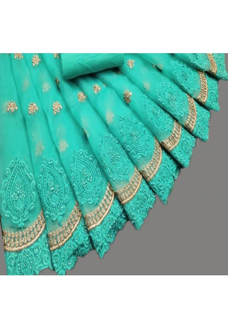 Peacock Blue Color Embroidery Chiffon Saree (She Saree 583)