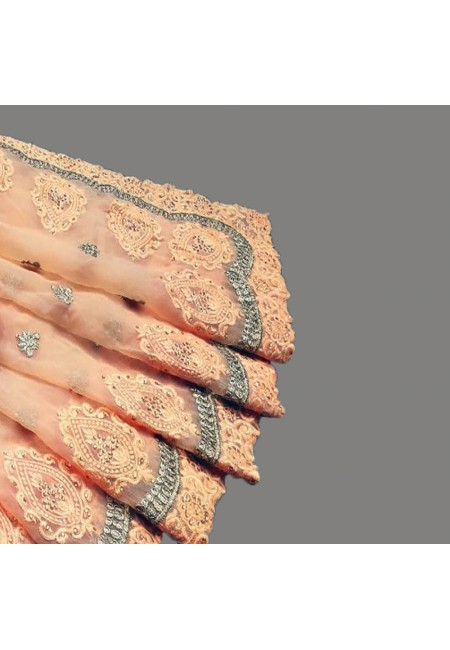 Peach Color Embroidery Chiffon Saree (She Saree 585)