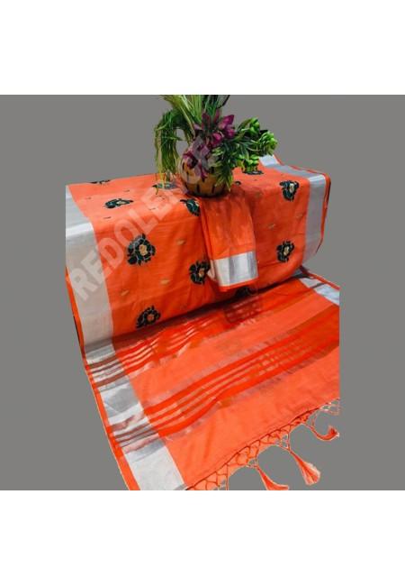 Orange Color Linen Cotton Saree (She Saree 695)
