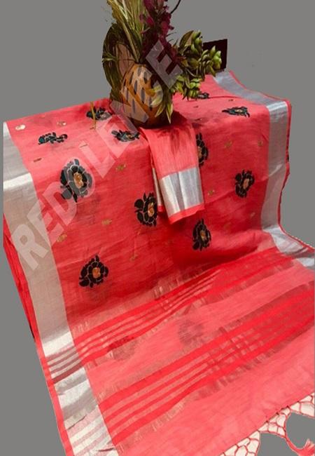 Hot Pink Color Linen Cotton Saree (She Saree 696)