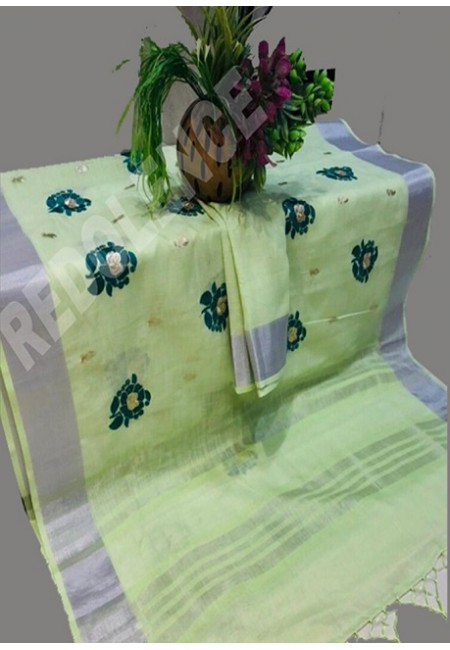 Light Parrot Green Color Linen Cotton Saree (She Saree 697)