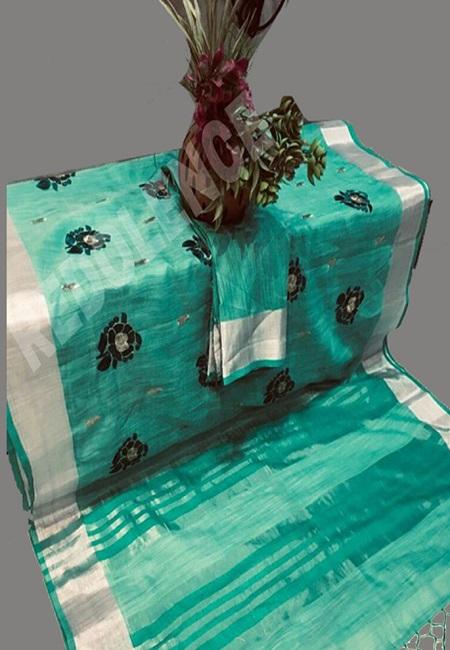 Emerald Green Color Linen Cotton Saree (She Saree 699)