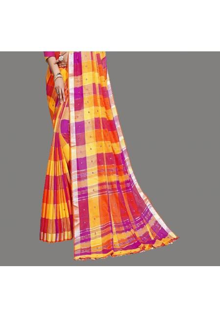 Multi Color Checks Linen Cotton Saree (She Saree 661)