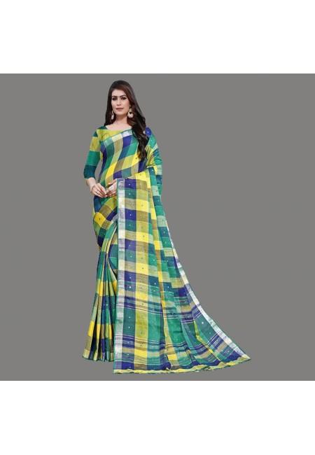 Multi Color Checks Linen Cotton Saree (She Saree 662)
