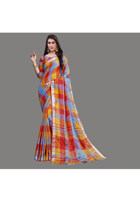 Multi Color Checks Linen Cotton Saree (She Saree 663)