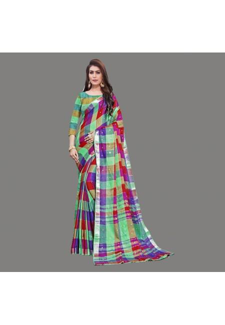 Multi Color Checks Linen Cotton Saree (She Saree 664)