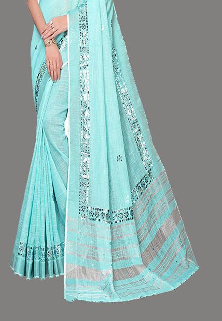 Sky Blue Color Linen Cotton Saree (She Saree 631)