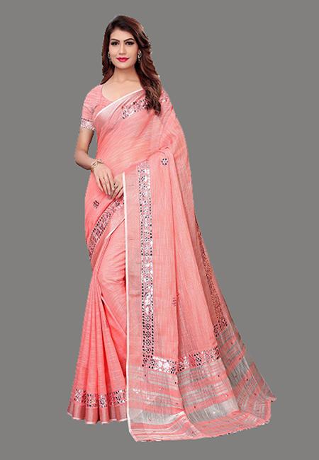 Baby Pink Color Linen Cotton Saree (She Saree 632)