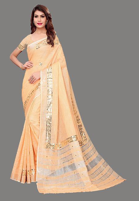 Beige Color Linen Cotton Saree (She Saree 633)