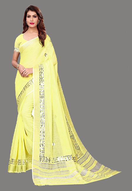 Lemon Yellow Color Linen Cotton Saree (She Saree 634)