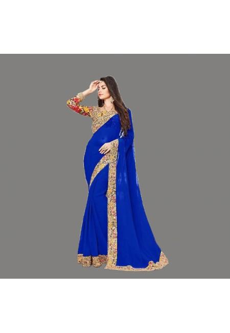 Royal Blue Color Designer Chiffon Saree (She Saree 665)