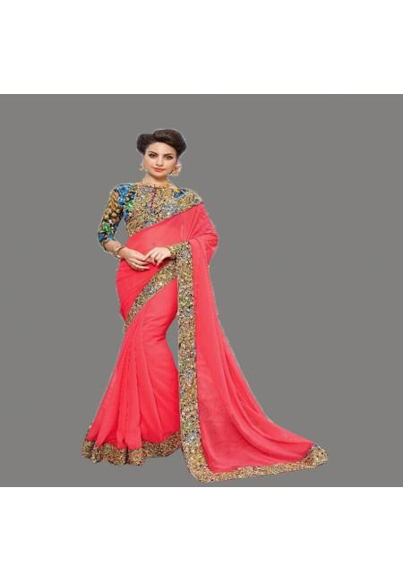 Peach Color Designer Chiffon Saree (She Saree 666)