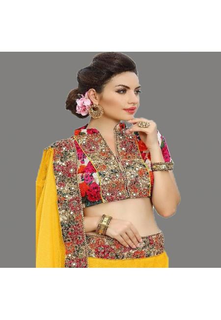 Yellow Color Designer Chiffon Saree (She Saree 667)