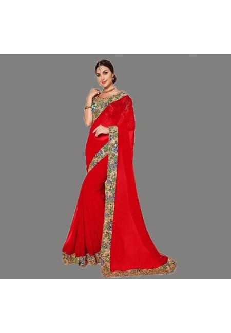 Red Color Designer Chiffon Saree (She Saree 668)