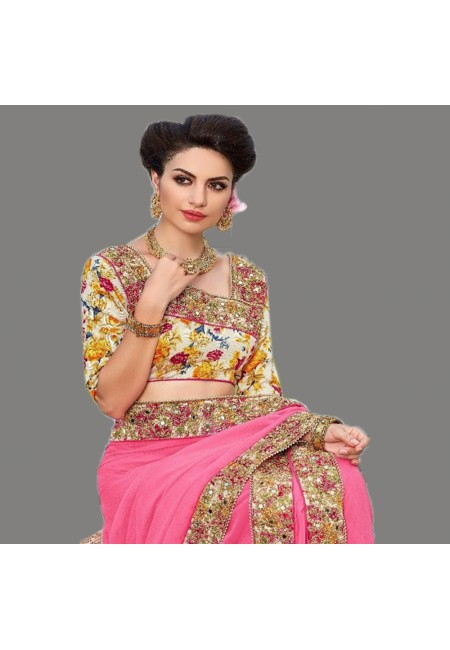 Pink Color Designer Chiffon Saree (She Saree 669)