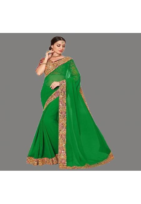 Parrot Green Color Designer Chiffon Saree (She Saree 670)
