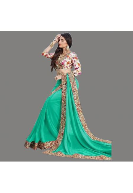 Sea Green Color Designer Chiffon Saree (She Saree 672)