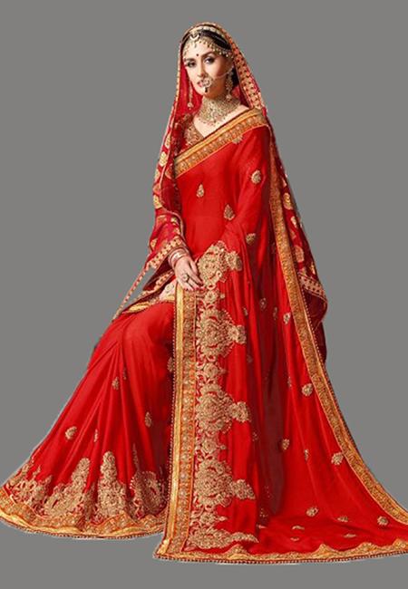 Red Color Designer Chiffon Saree (She Saree 635)
