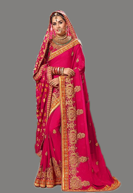 Fuchsia Pink Color Designer Chiffon Saree (She Saree 637)