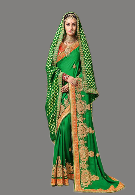 Green Color Designer Chiffon Saree (She Saree 639)