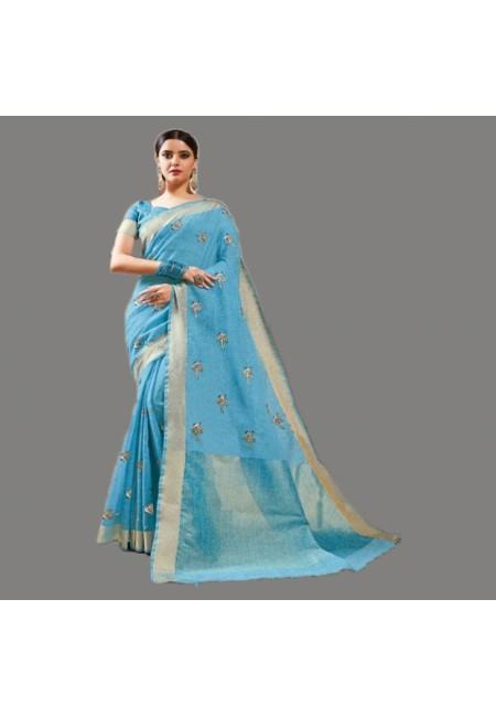 Sky Blue Color Linen Cotton Saree (She Saree 578)