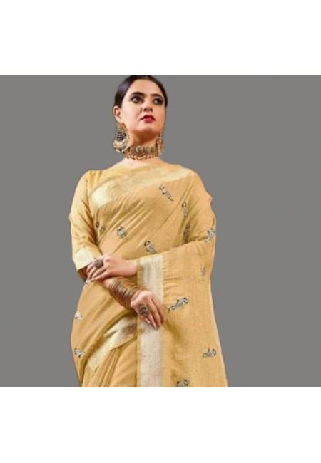 Beige Color Linen Cotton Saree (She Saree 582)