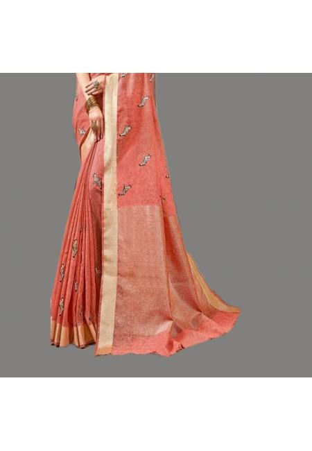 Peach Color Linen Cotton Saree (She Saree 576)