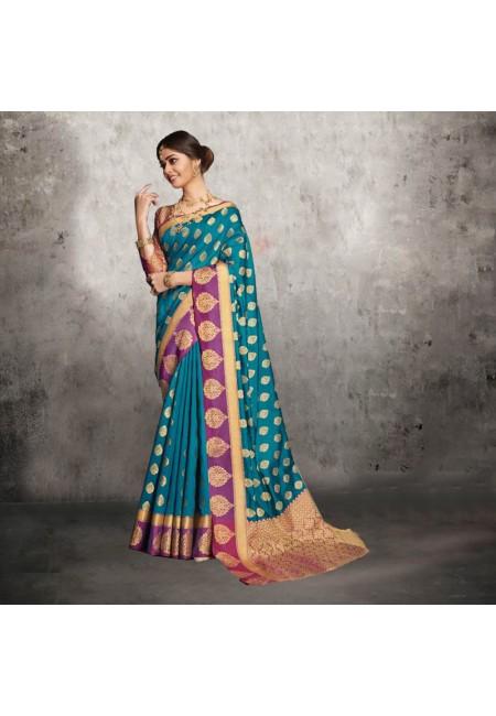 Blue Color Contrast Banarasi Silk Saree (She Saree 608)
