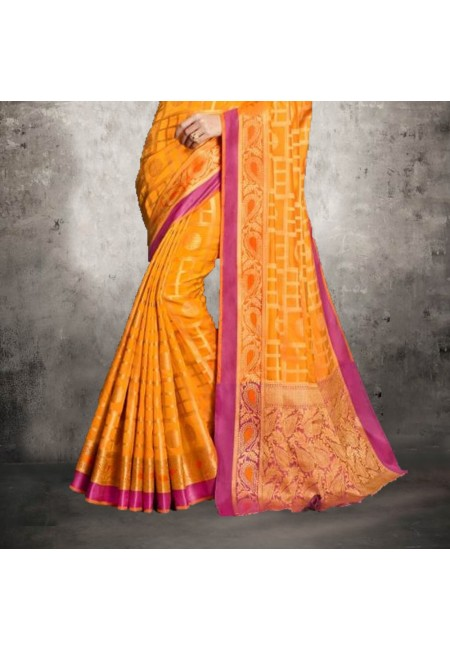 Orange Color Banarasi Silk Saree (She Saree 604)