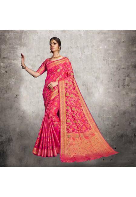 Fuchsia Color Banarasi Silk Saree (She Saree 606)