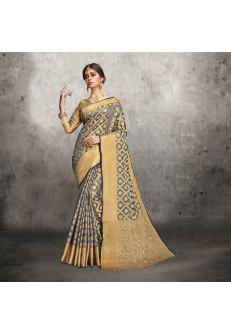 Grey Color Banarasi Silk Saree (She Saree 609)