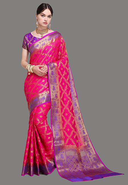 Fuchsia Pink Color Madurai Silk Saree (She Saree 622)
