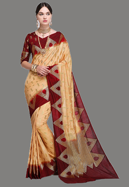 Beige Color Madurai Silk Saree (She Saree 624)