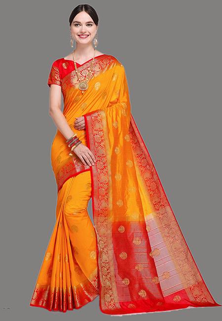 Golden Yellow Color Madurai Silk Saree (She Saree 627)