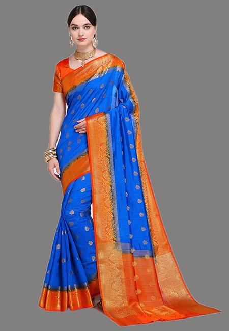 Peacock Blue Madurai Silk Saree (She Saree 629)